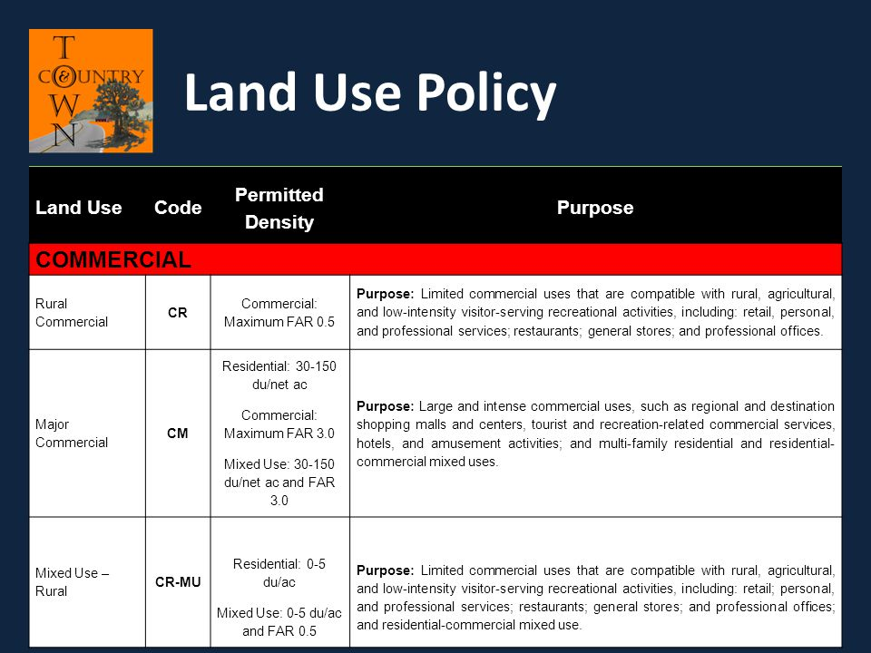Land Use Policy COMMERCIAL Land Use Code Permitted Density Purpose