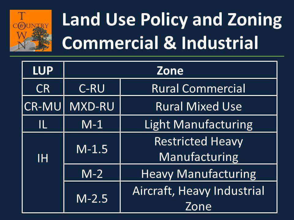 Land Use Policy and Zoning Commercial & Industrial