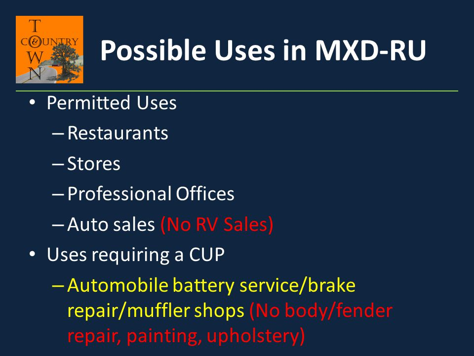 Possible Uses in MXD-RU