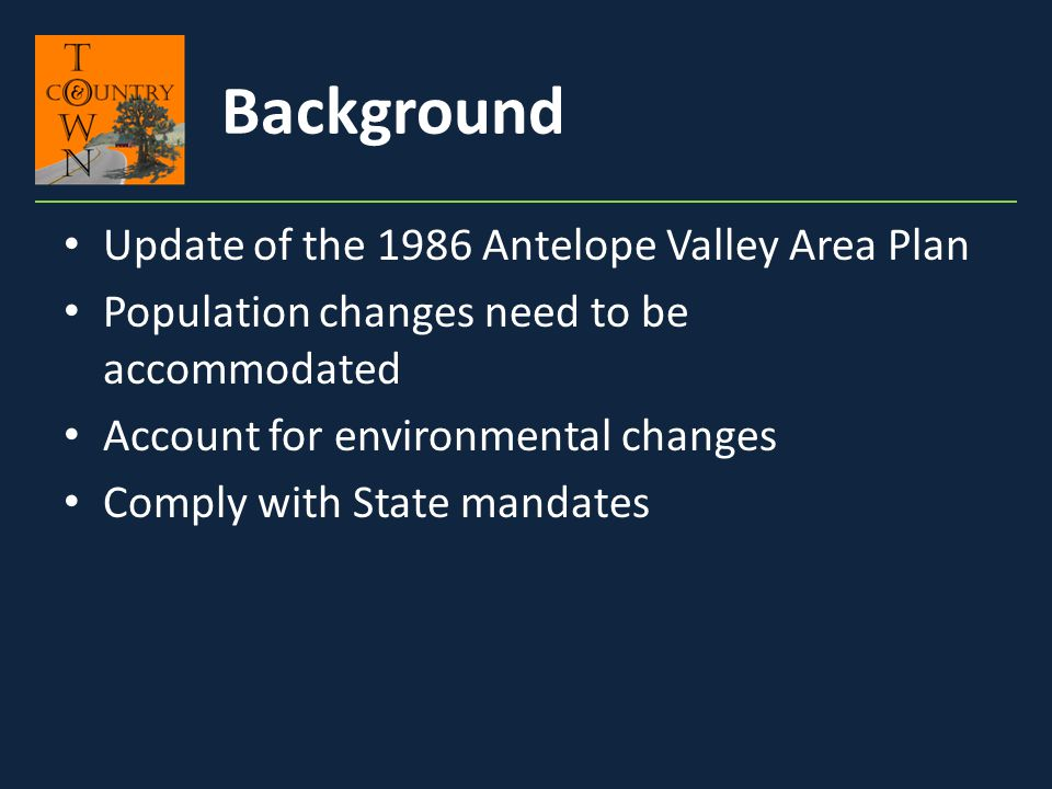 Background Update of the 1986 Antelope Valley Area Plan