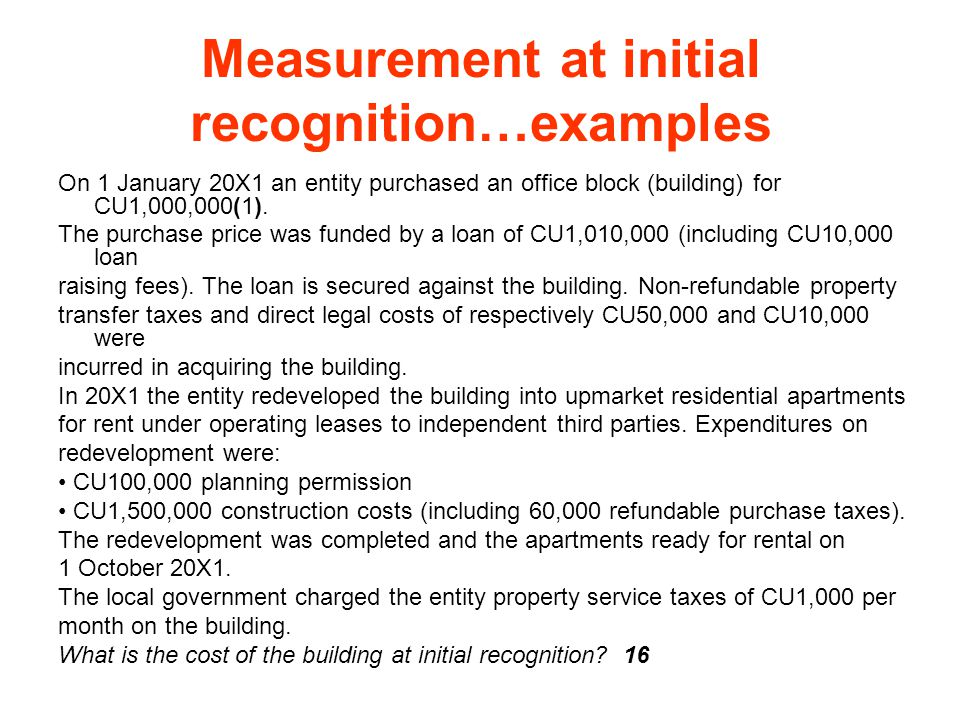 Measurement at initial recognition…examples