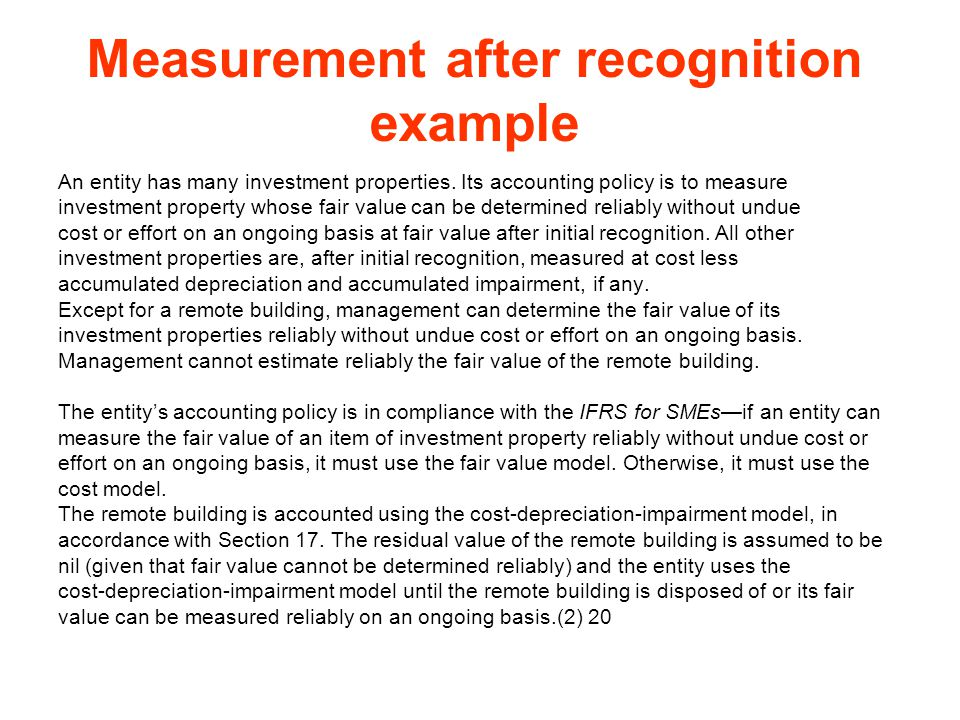 Measurement after recognition example