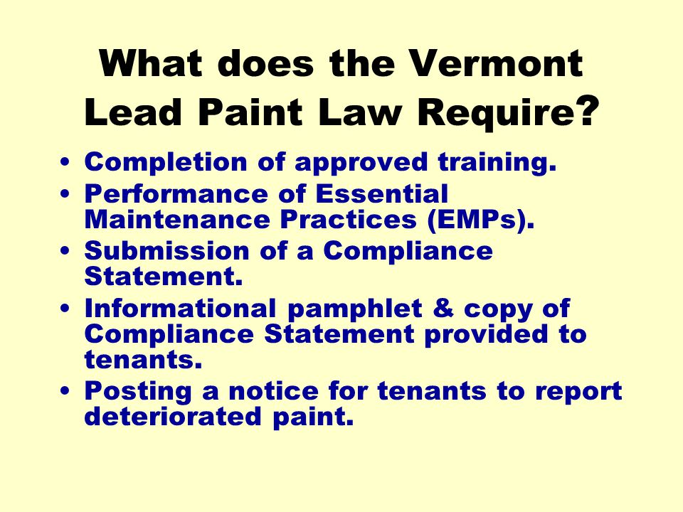What does the Vermont Lead Paint Law Require