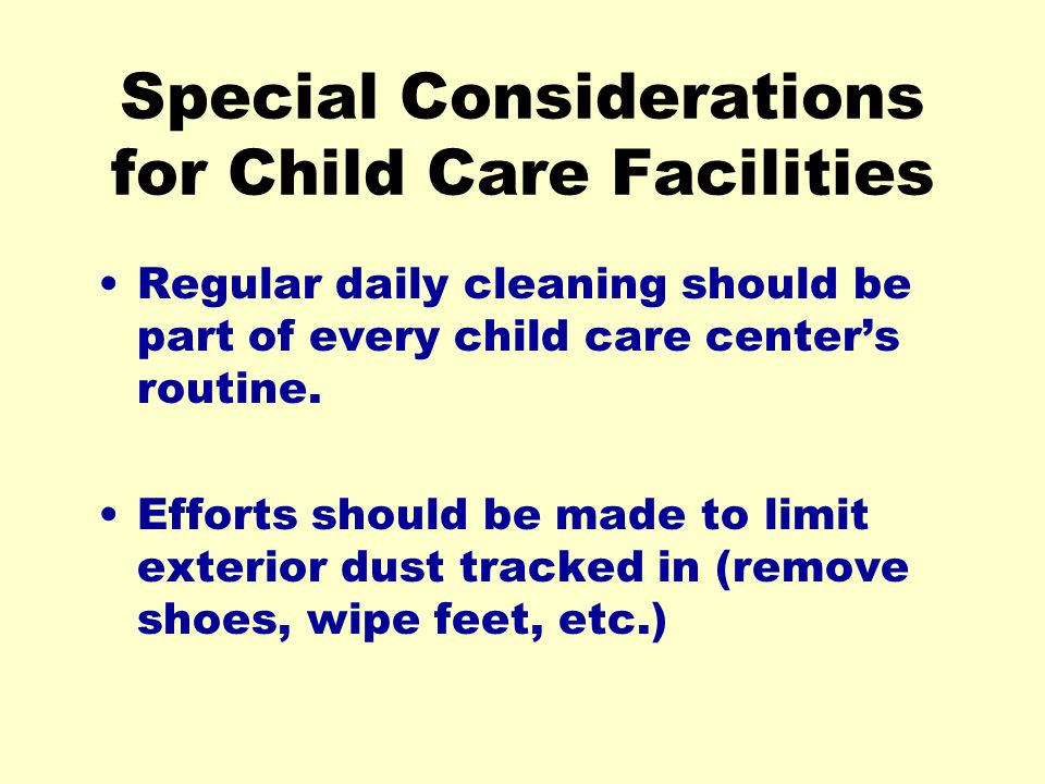 Special Considerations for Child Care Facilities