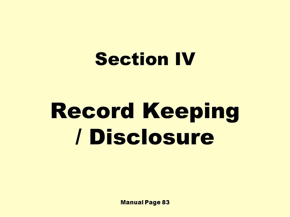 Record Keeping / Disclosure