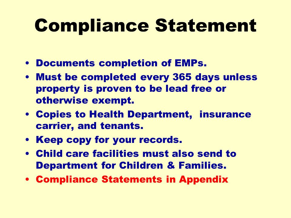 Compliance Statement Documents completion of EMPs.
