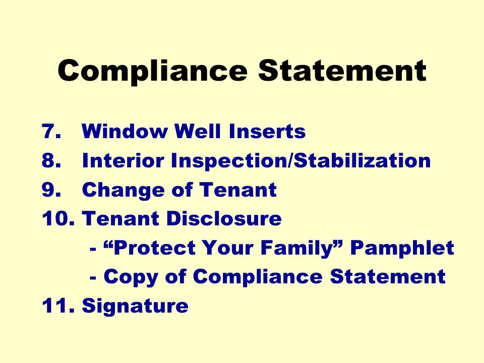 Compliance Statement 7. Window Well Inserts