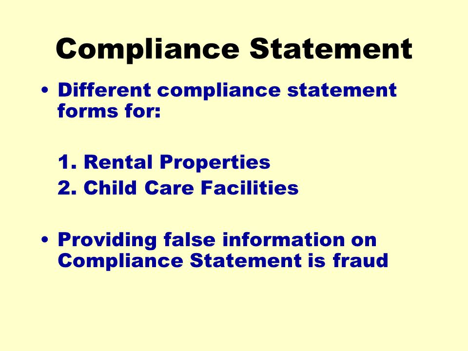 Compliance Statement Different compliance statement forms for: