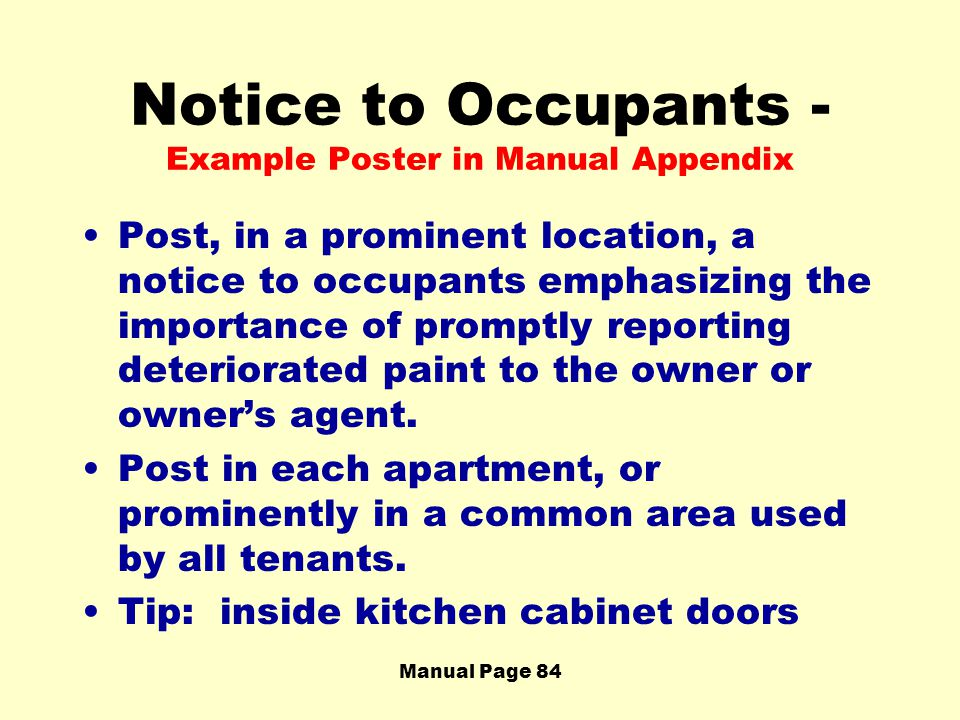 Notice to Occupants - Example Poster in Manual Appendix