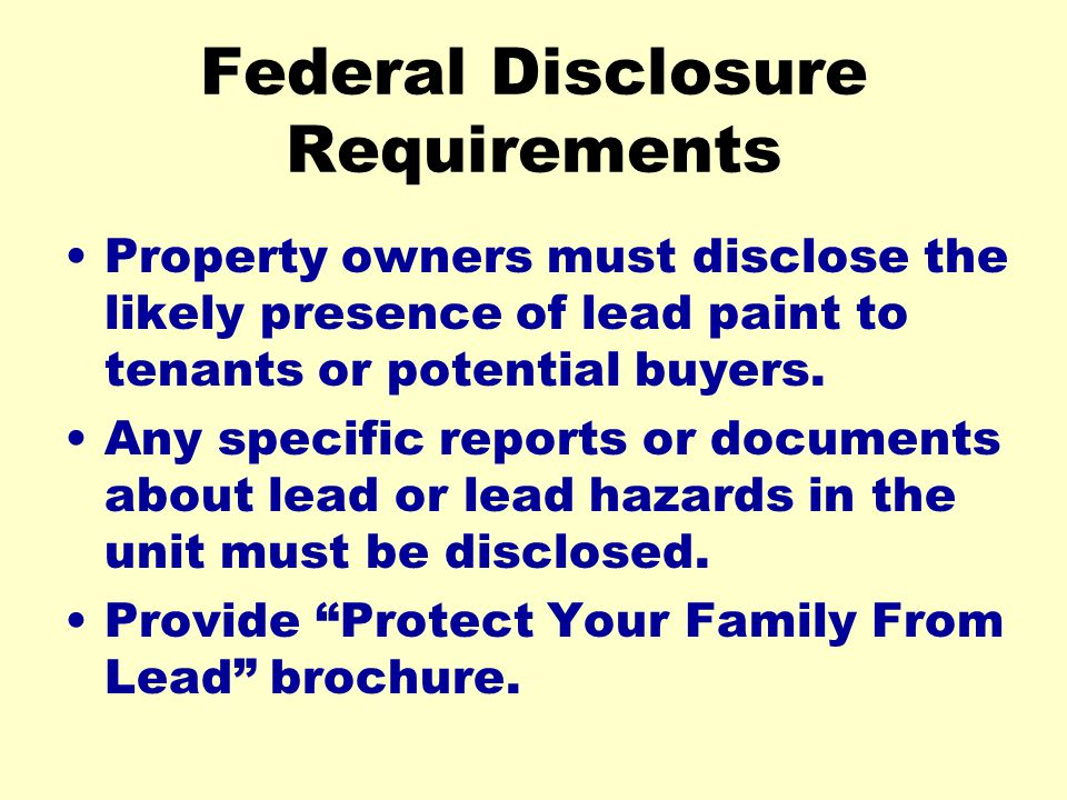 Federal Disclosure Requirements