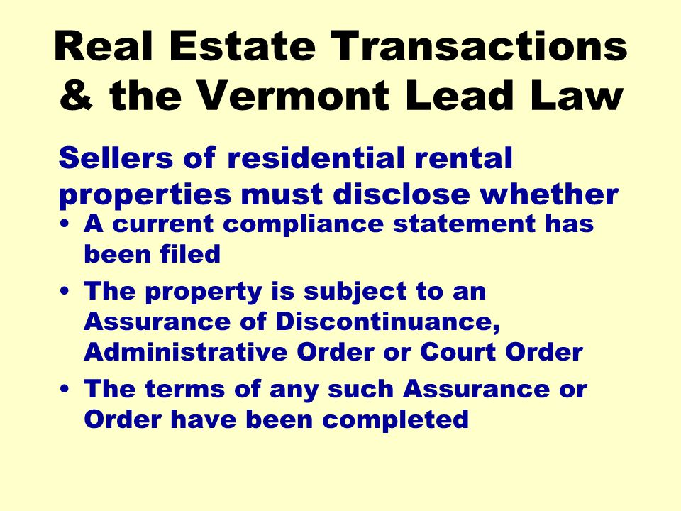 Real Estate Transactions & the Vermont Lead Law