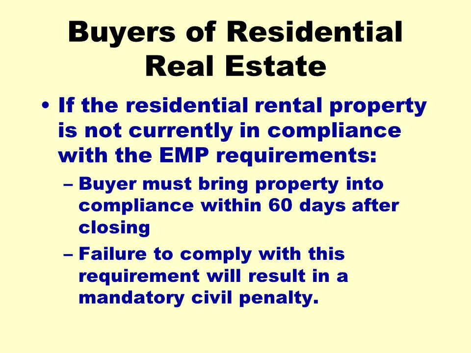 Buyers of Residential Real Estate