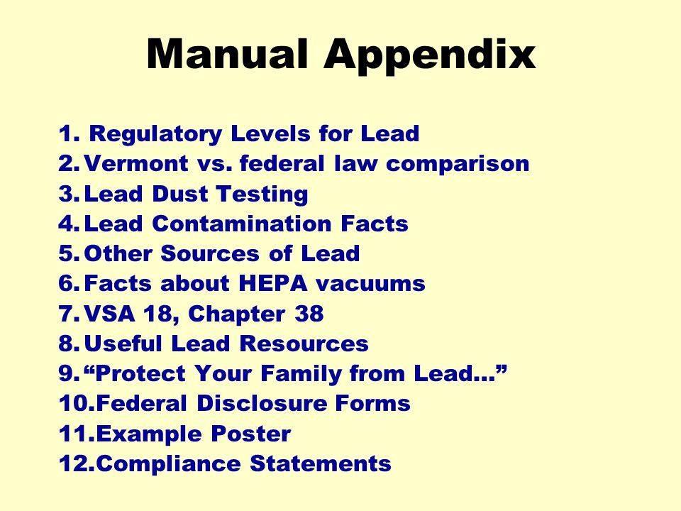 Manual Appendix 1. Regulatory Levels for Lead