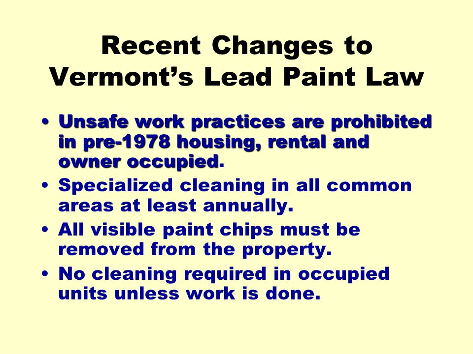 Recent Changes to Vermont's Lead Paint Law