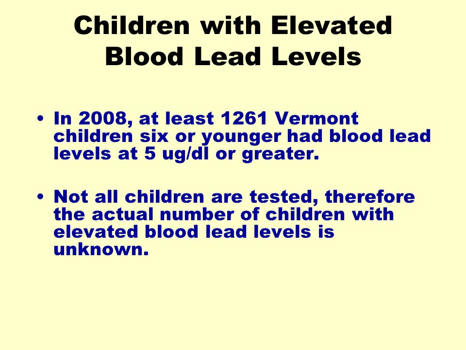 Children with Elevated Blood Lead Levels
