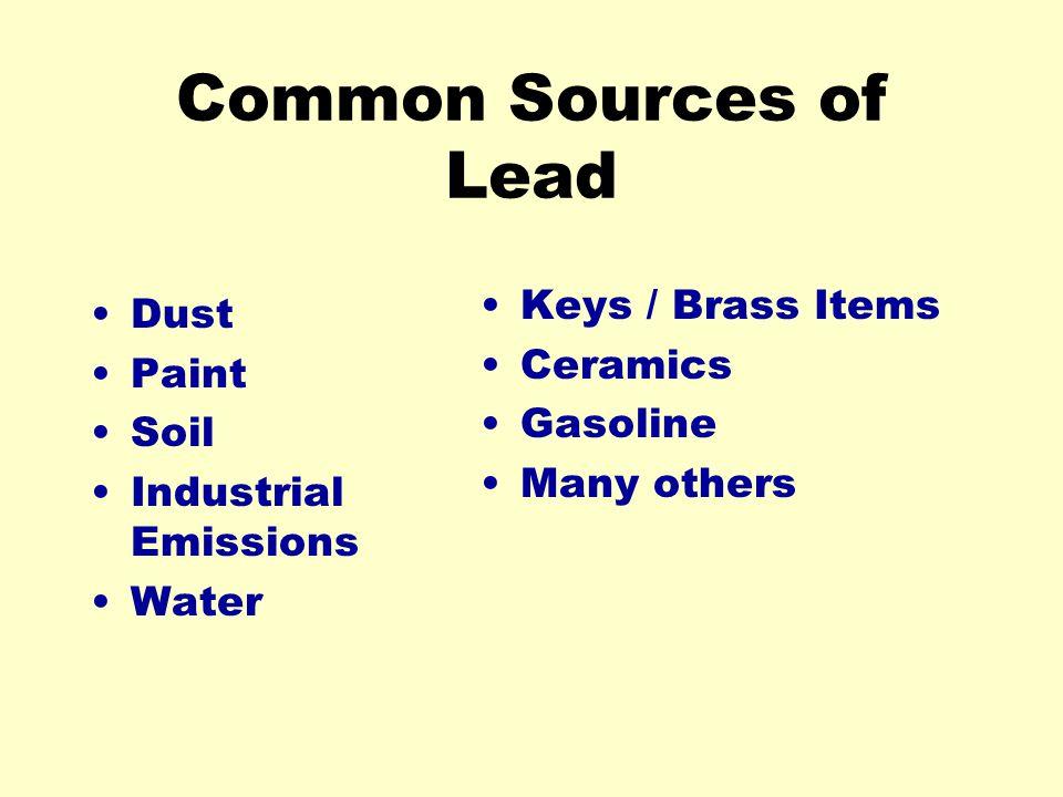 Common Sources of Lead Keys / Brass Items Dust Ceramics Paint Gasoline