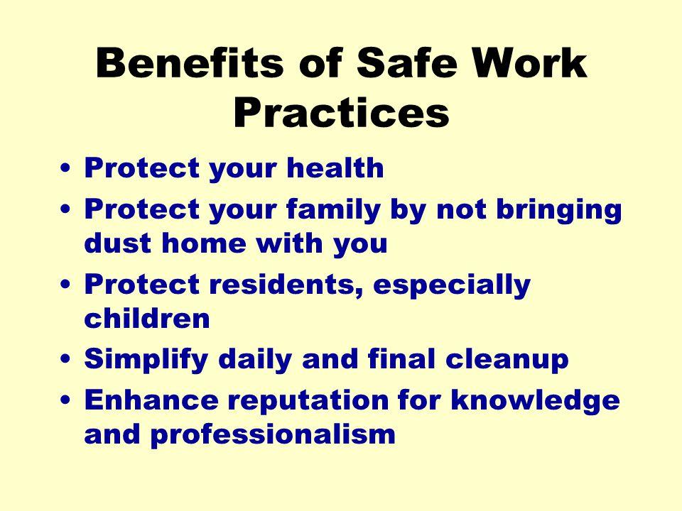 Benefits of Safe Work Practices