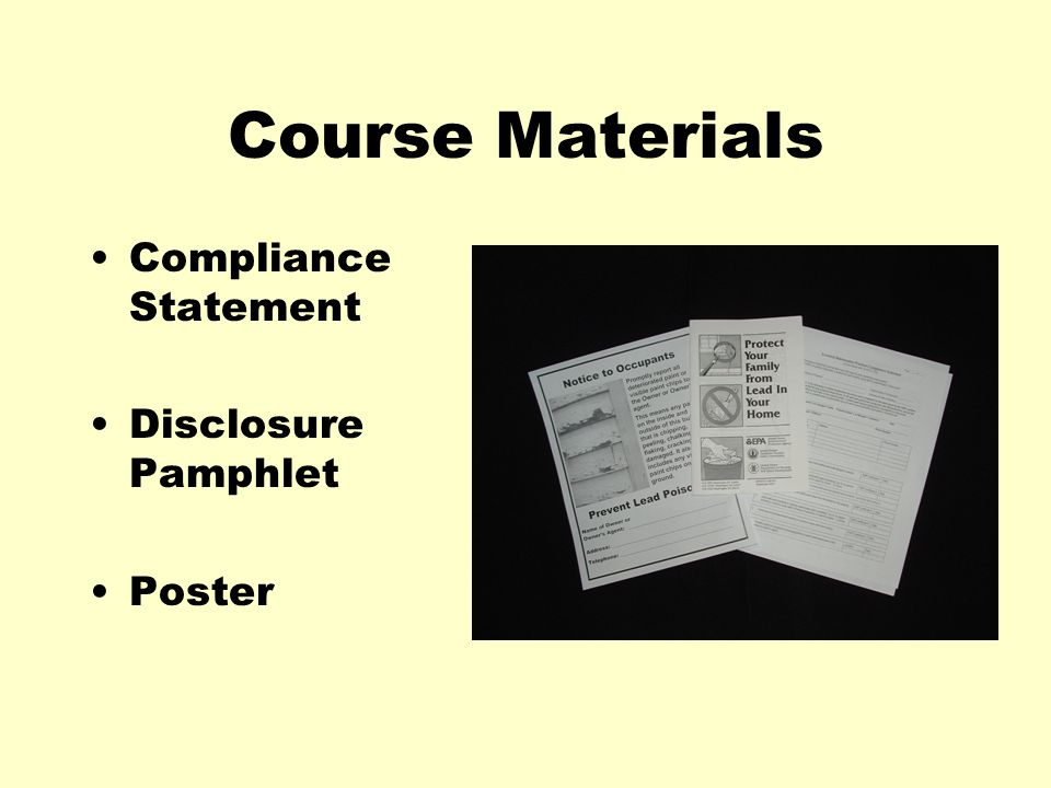Course Materials Compliance Statement Disclosure Pamphlet Poster