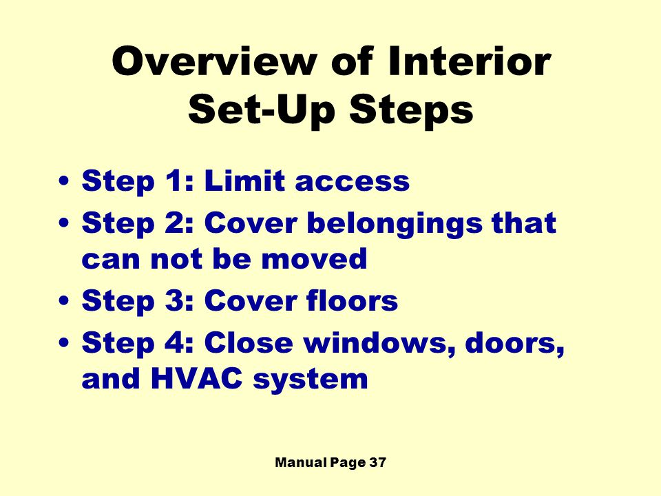 Overview of Interior Set-Up Steps