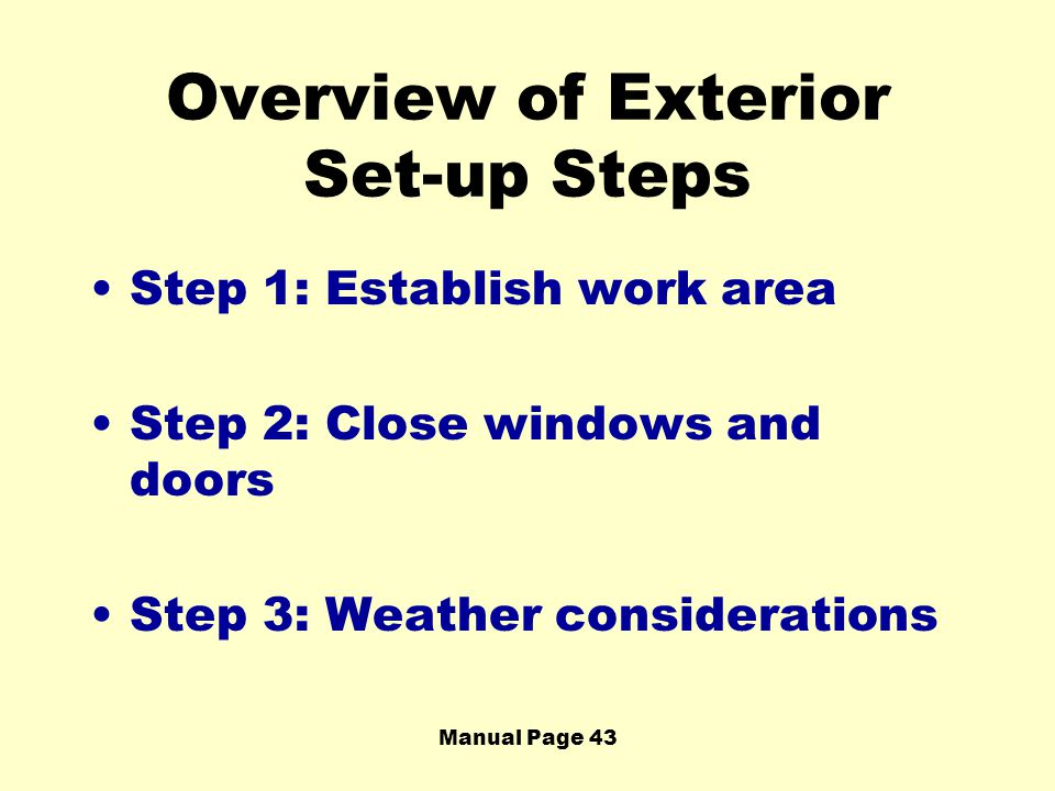 Overview of Exterior Set-up Steps