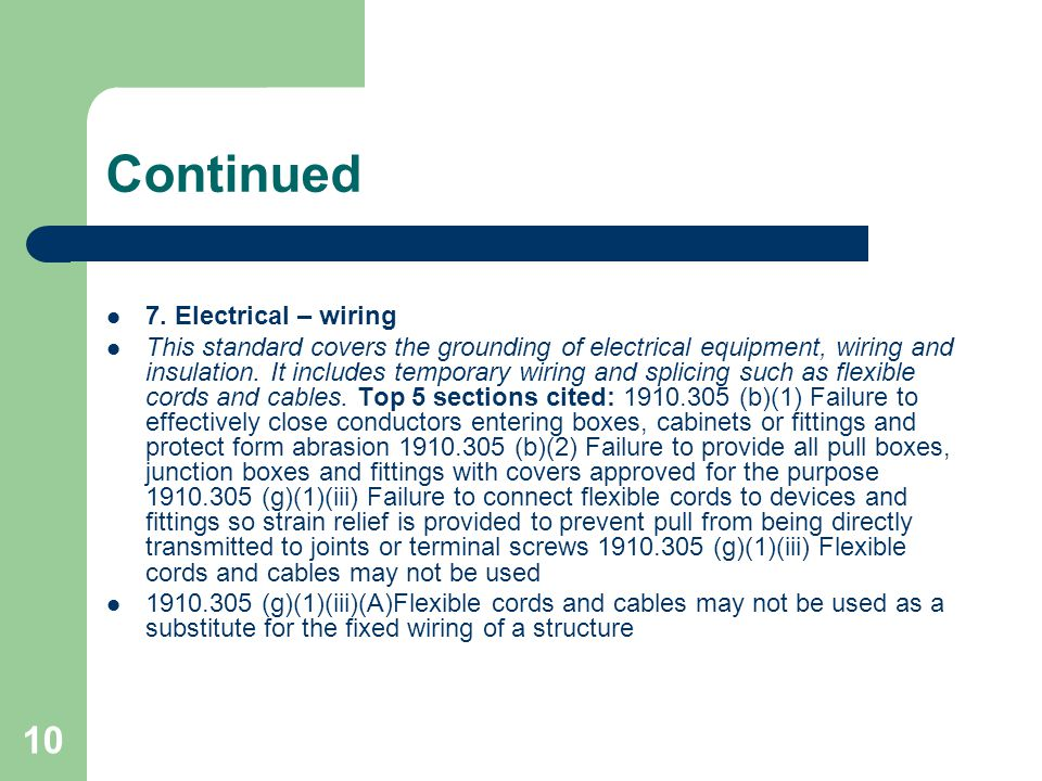Continued 7. Electrical – wiring