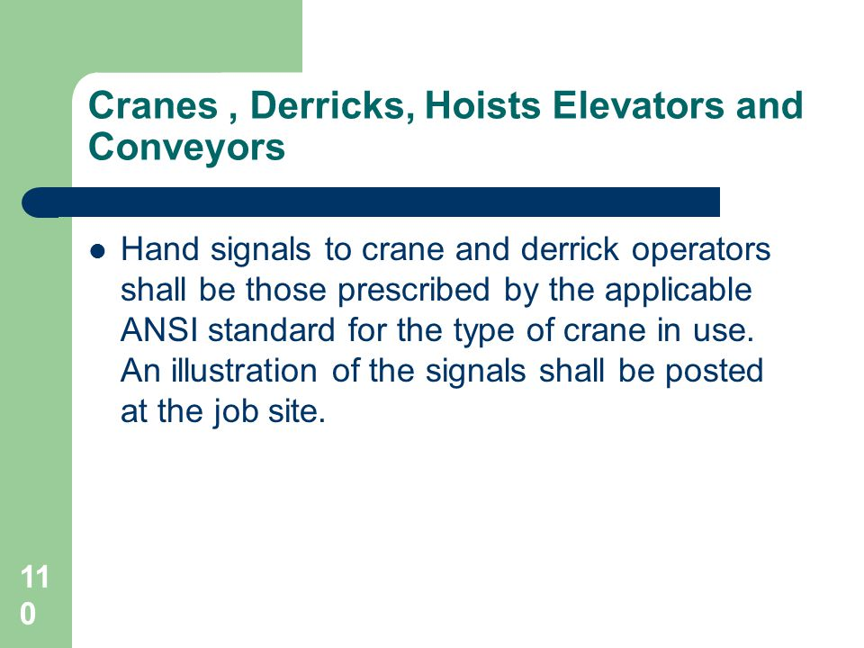 Cranes , Derricks, Hoists Elevators and Conveyors