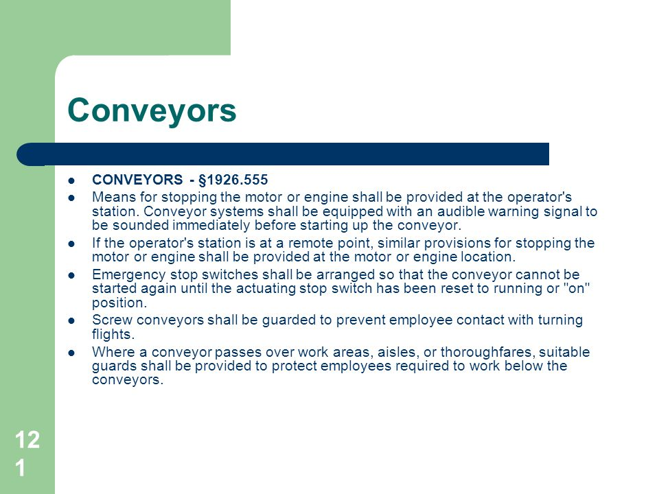 Conveyors CONVEYORS - §1926.555