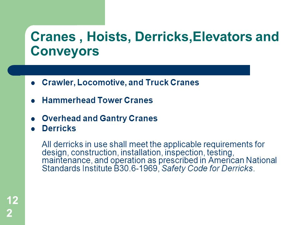 Cranes , Hoists, Derricks,Elevators and Conveyors