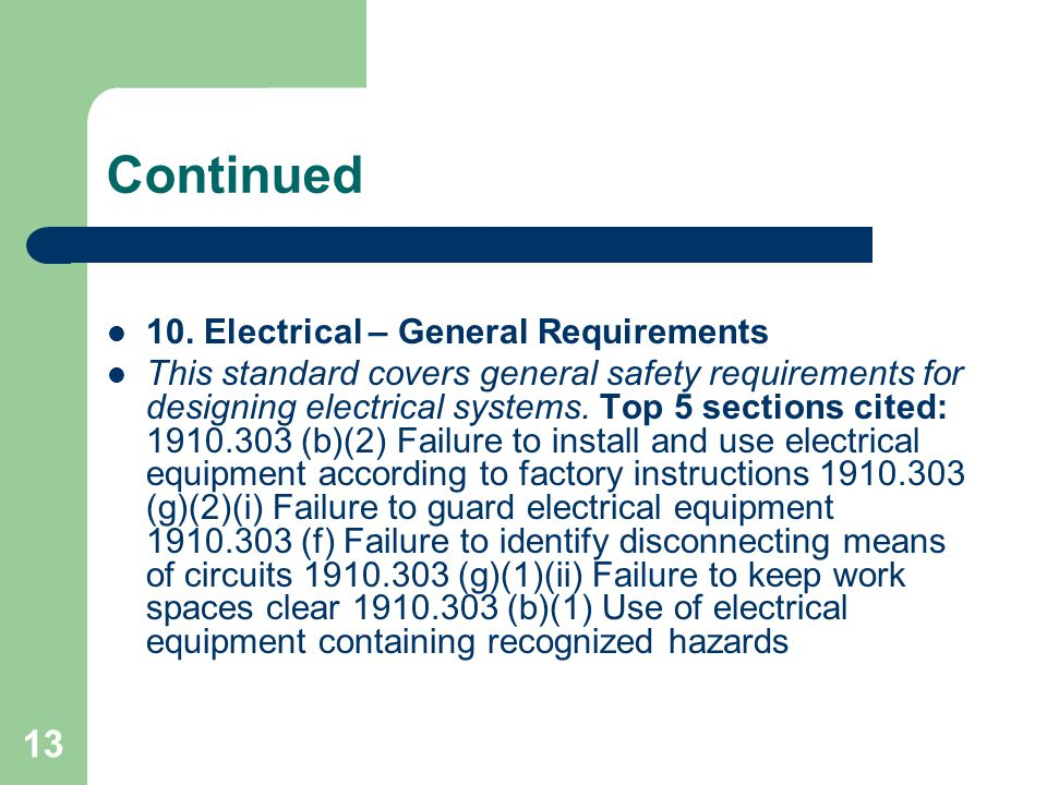 Continued 10. Electrical – General Requirements