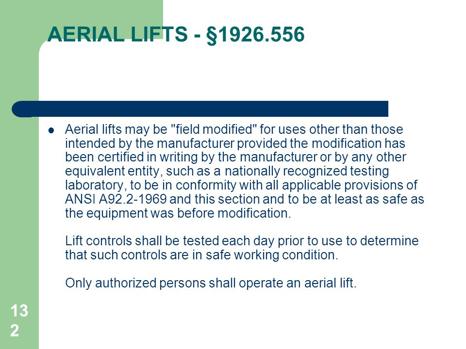 AERIAL LIFTS - §1926.556