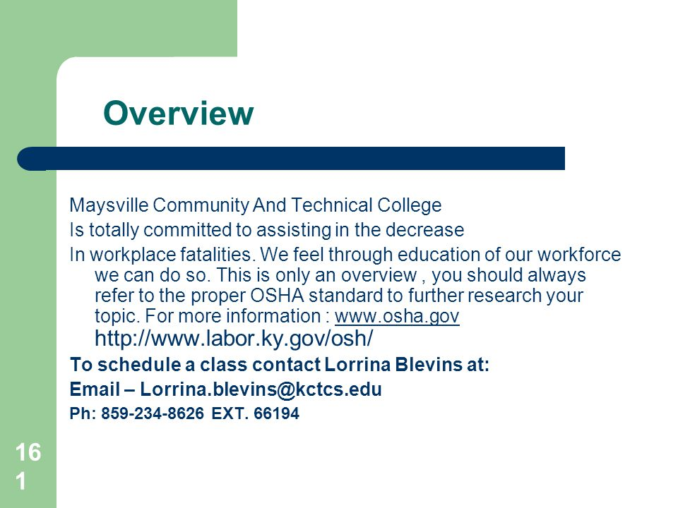 Overview Maysville Community And Technical College