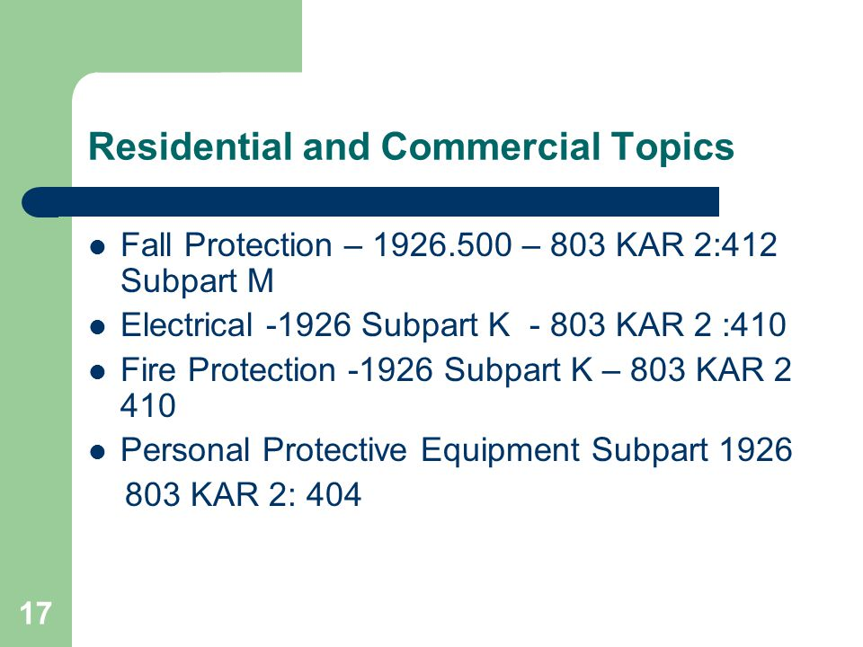 Residential and Commercial Topics