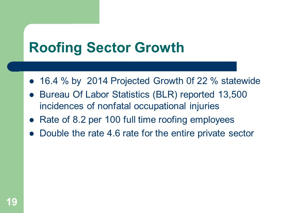 Roofing Sector Growth 16.4 % by 2014 Projected Growth 0f 22 % statewide.