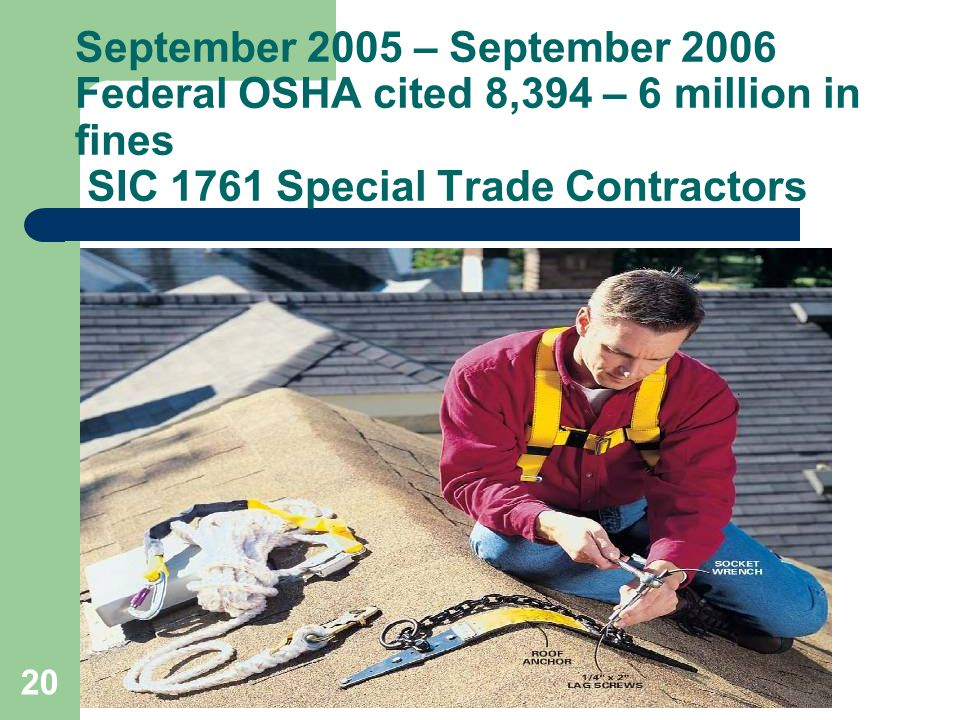 September 2005 – September 2006 Federal OSHA cited 8,394 – 6 million in fines SIC 1761 Special Trade Contractors