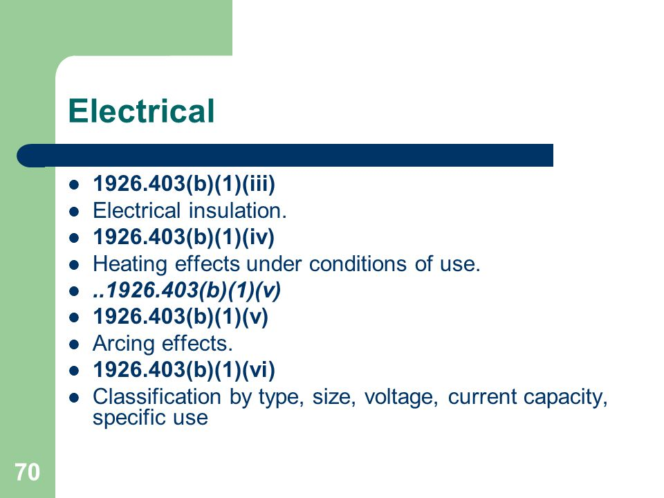 Electrical 1926.403(b)(1)(iii) Electrical insulation.