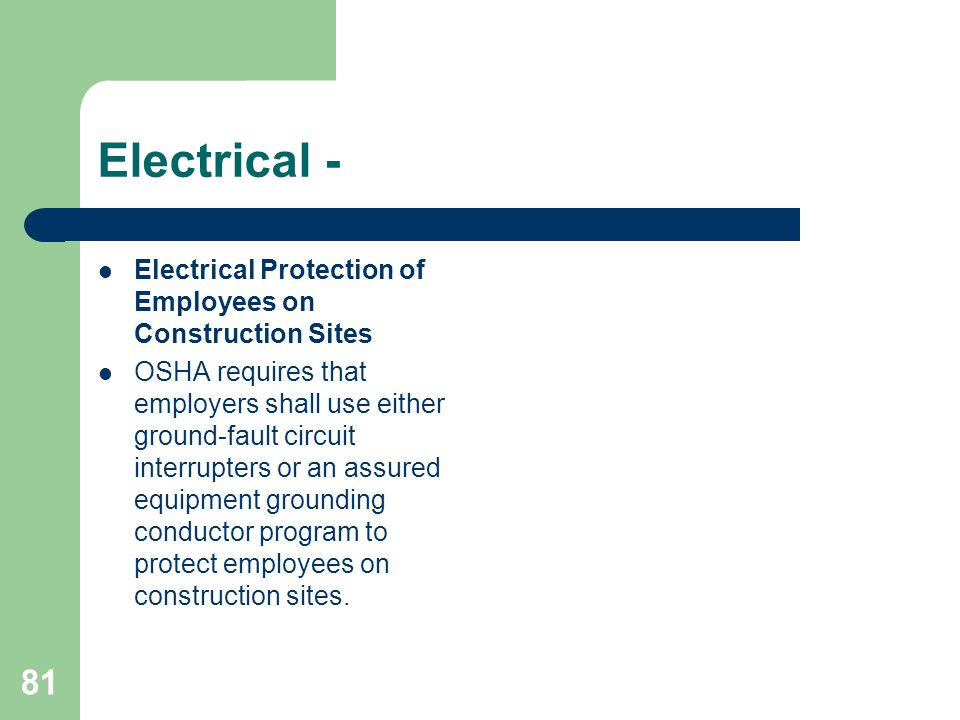 Electrical - Electrical Protection of Employees on Construction Sites