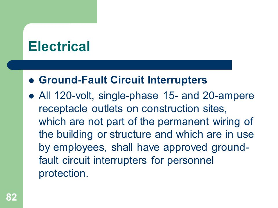 Electrical Ground-Fault Circuit Interrupters