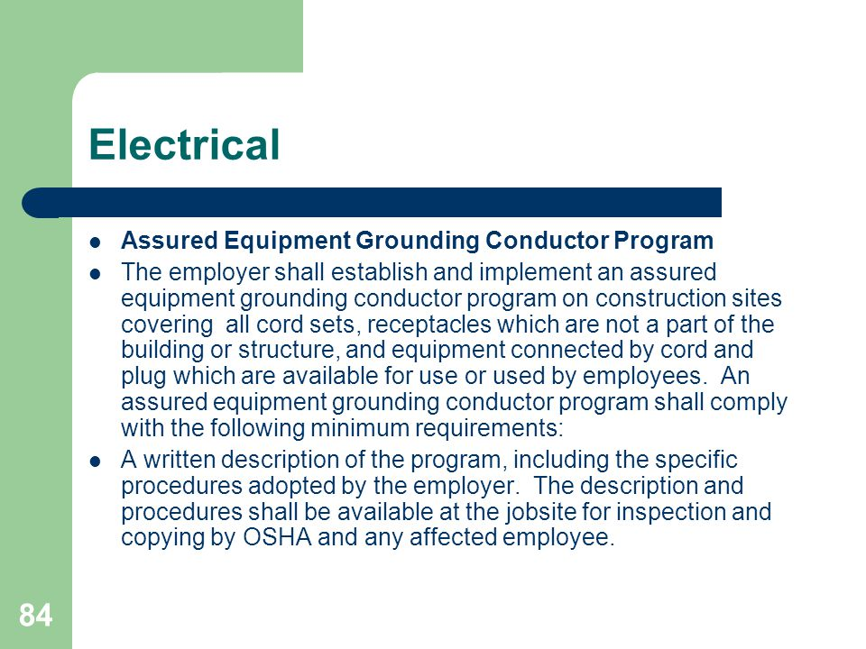 Electrical Assured Equipment Grounding Conductor Program