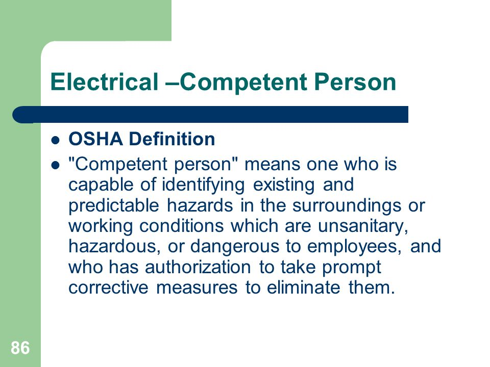 Electrical –Competent Person