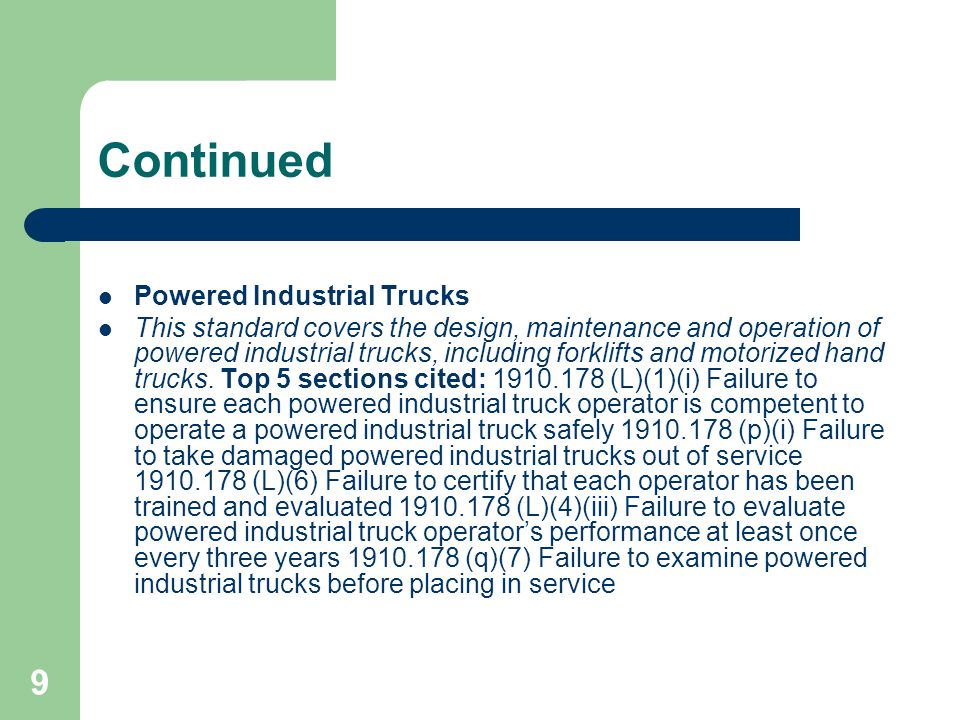 Continued Powered Industrial Trucks