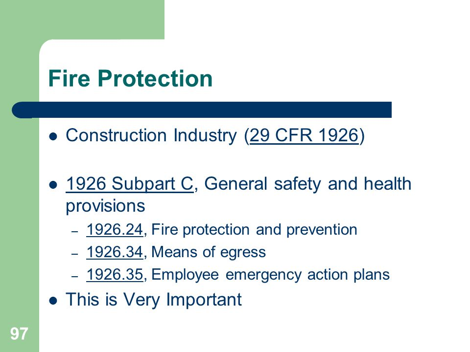 Fire Protection Construction Industry (29 CFR 1926)
