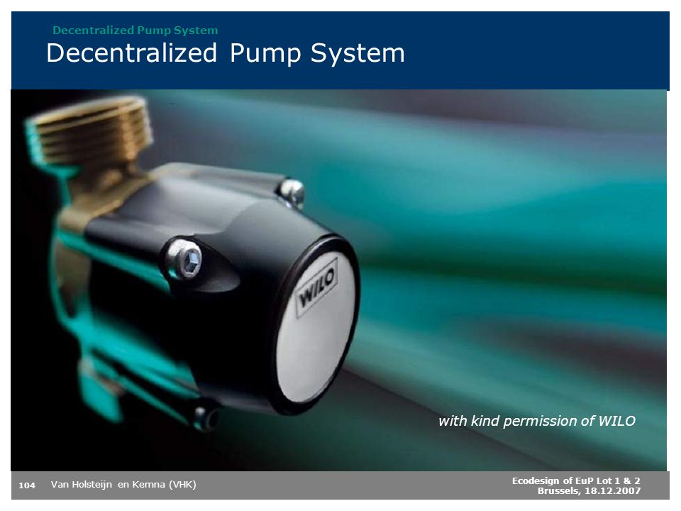 Decentralized Pump System