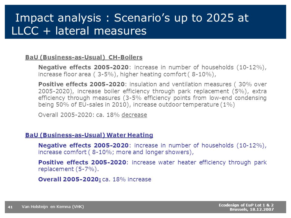 Impact analysis : Scenario's up to 2025 at LLCC + lateral measures