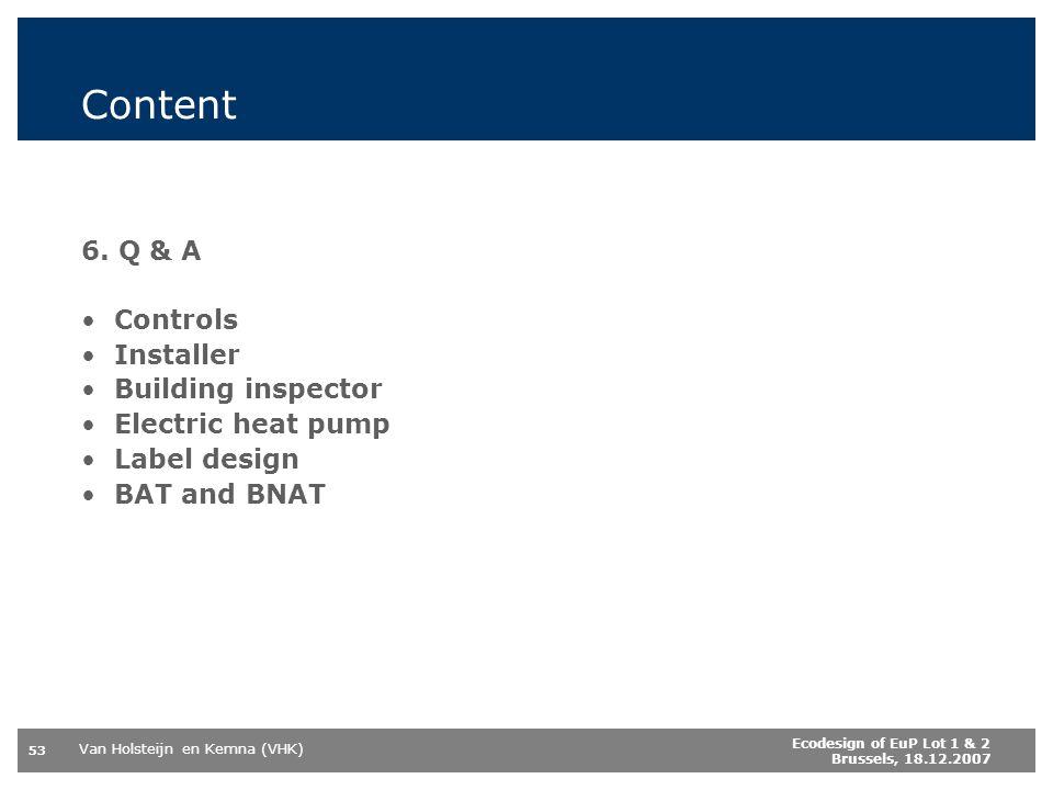 Content 6. Q & A Controls Installer Building inspector