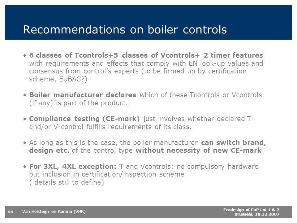 Recommendations on boiler controls