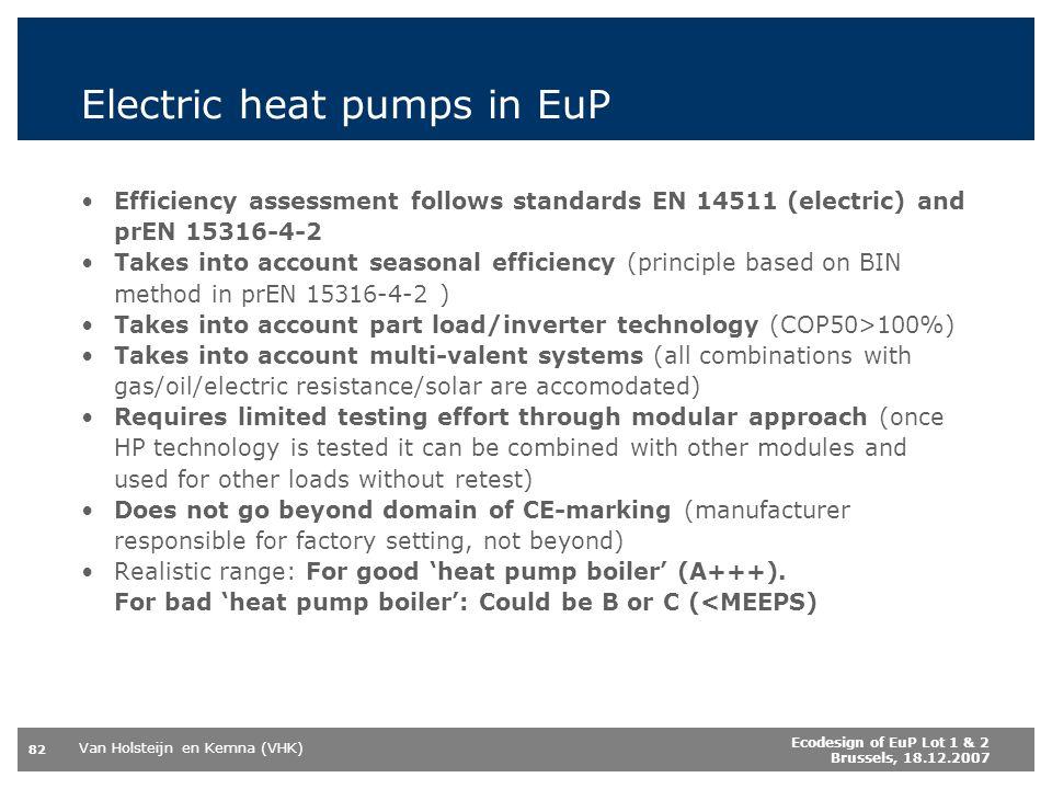 Electric heat pumps in EuP