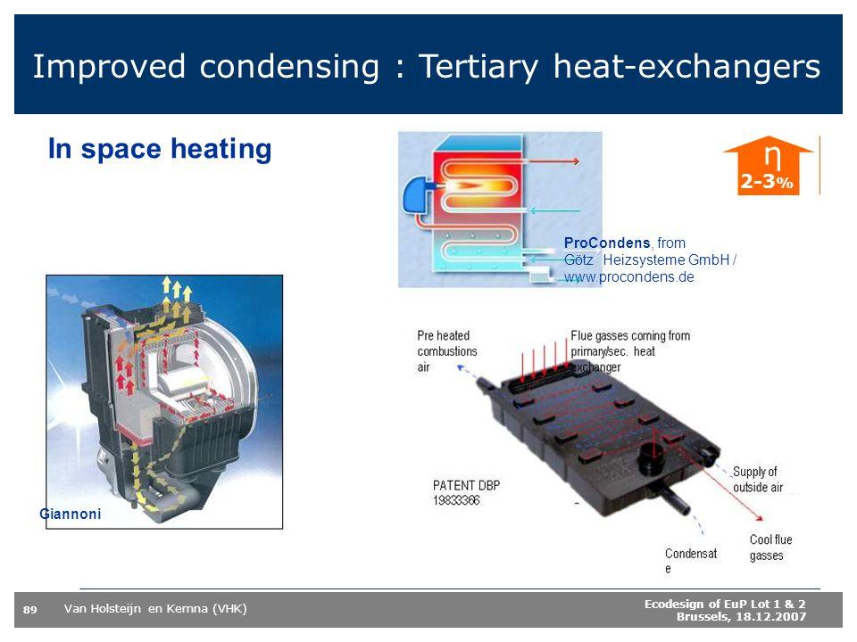 Improved condensing : Tertiary heat-exchangers