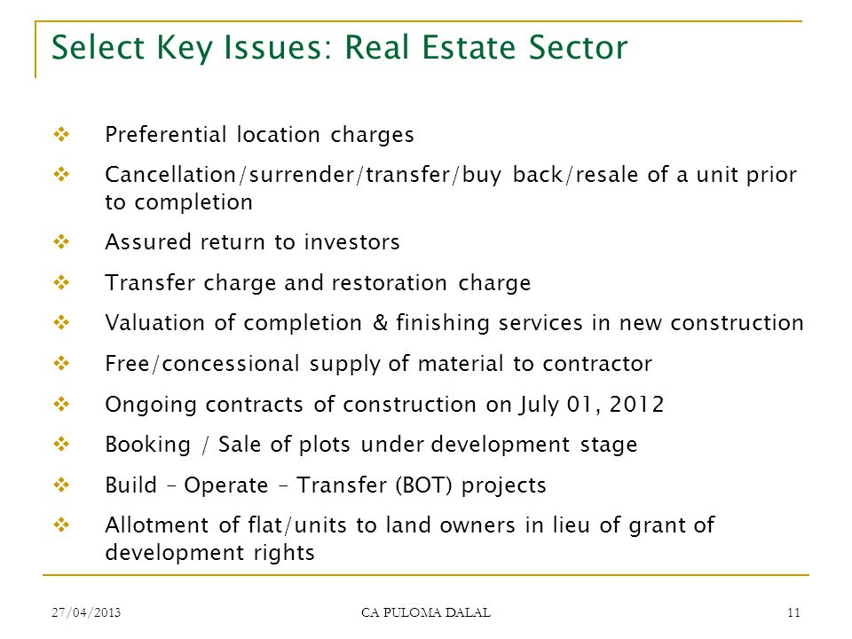 Select Key Issues: Real Estate Sector
