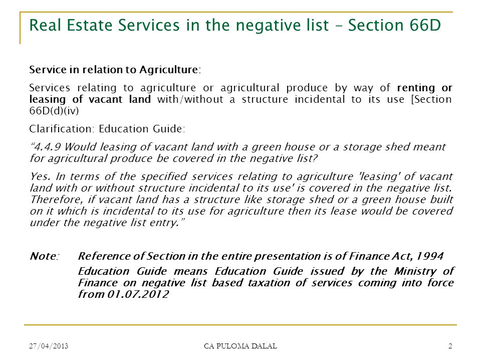 Real Estate Services in the negative list – Section 66D