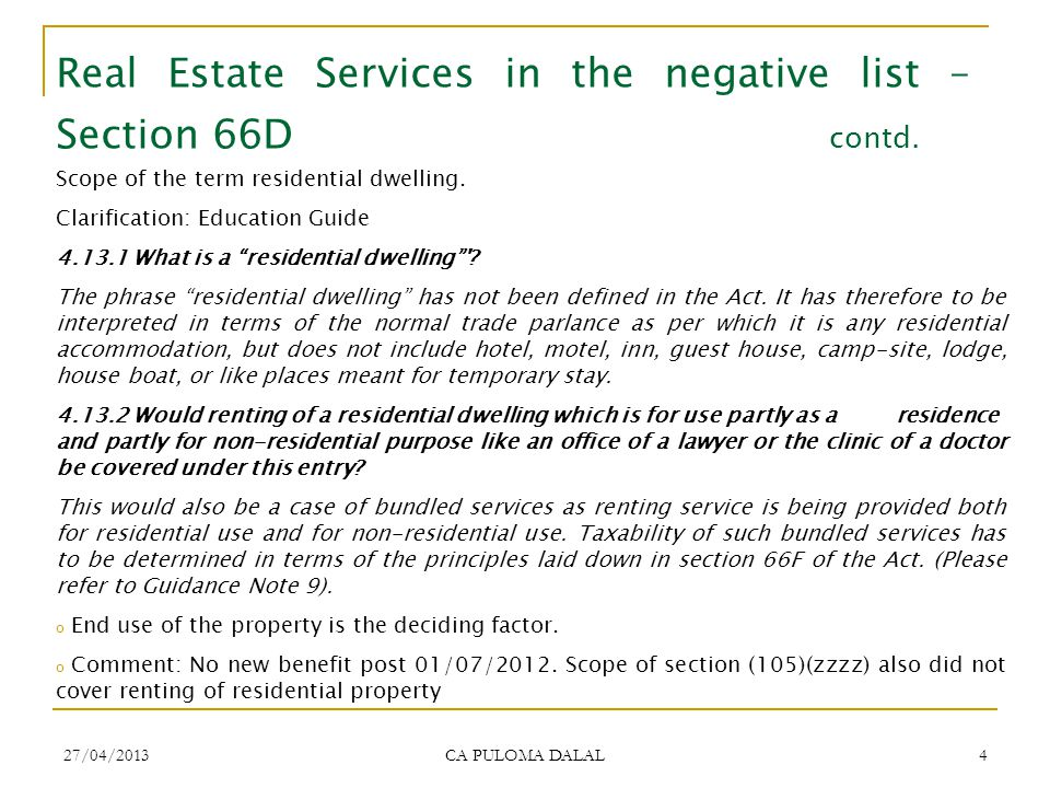Real Estate Services in the negative list – Section 66D contd.